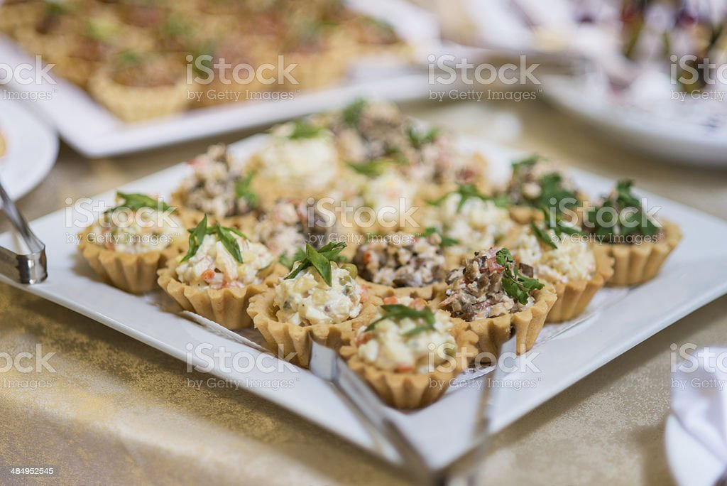 Salad in edible baskets stock photo