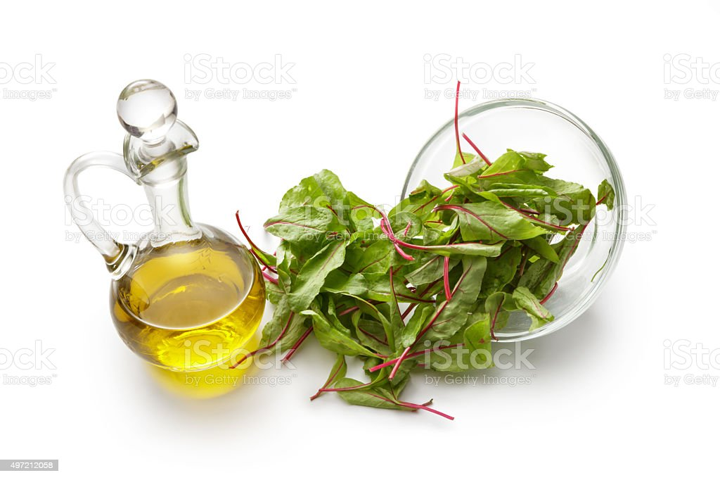 Salad Ingredients: Chard and Olive Oil stock photo