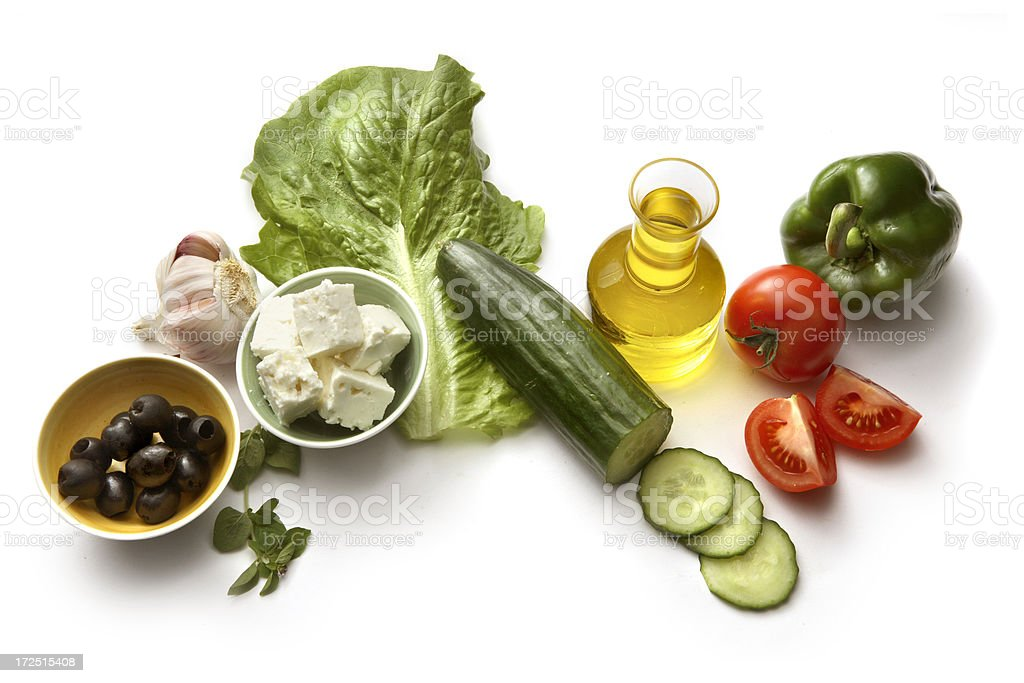 Salad Ingredients: Greek Salad royalty-free stock photo