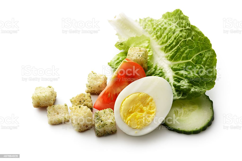 Salad Ingredients: Romaine, Egg, Crouton, Tomato and Cucumber stock photo