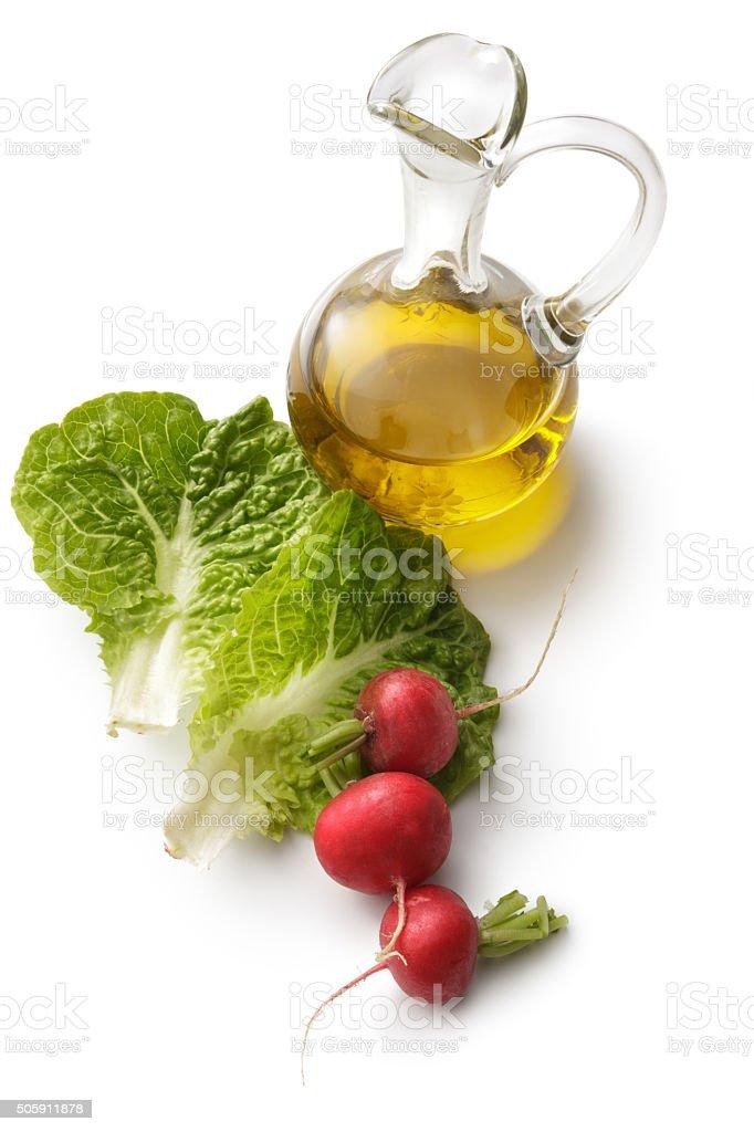 Salad Ingredients: Romaine, Radish and Oil stock photo