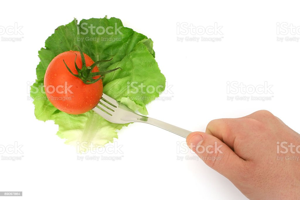 Salad leaf and tomato royalty-free stock photo