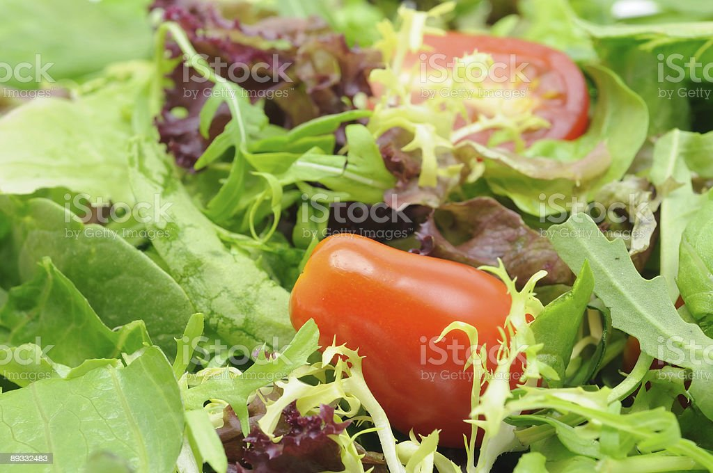 Salad leaves and tomatoes royalty-free stock photo