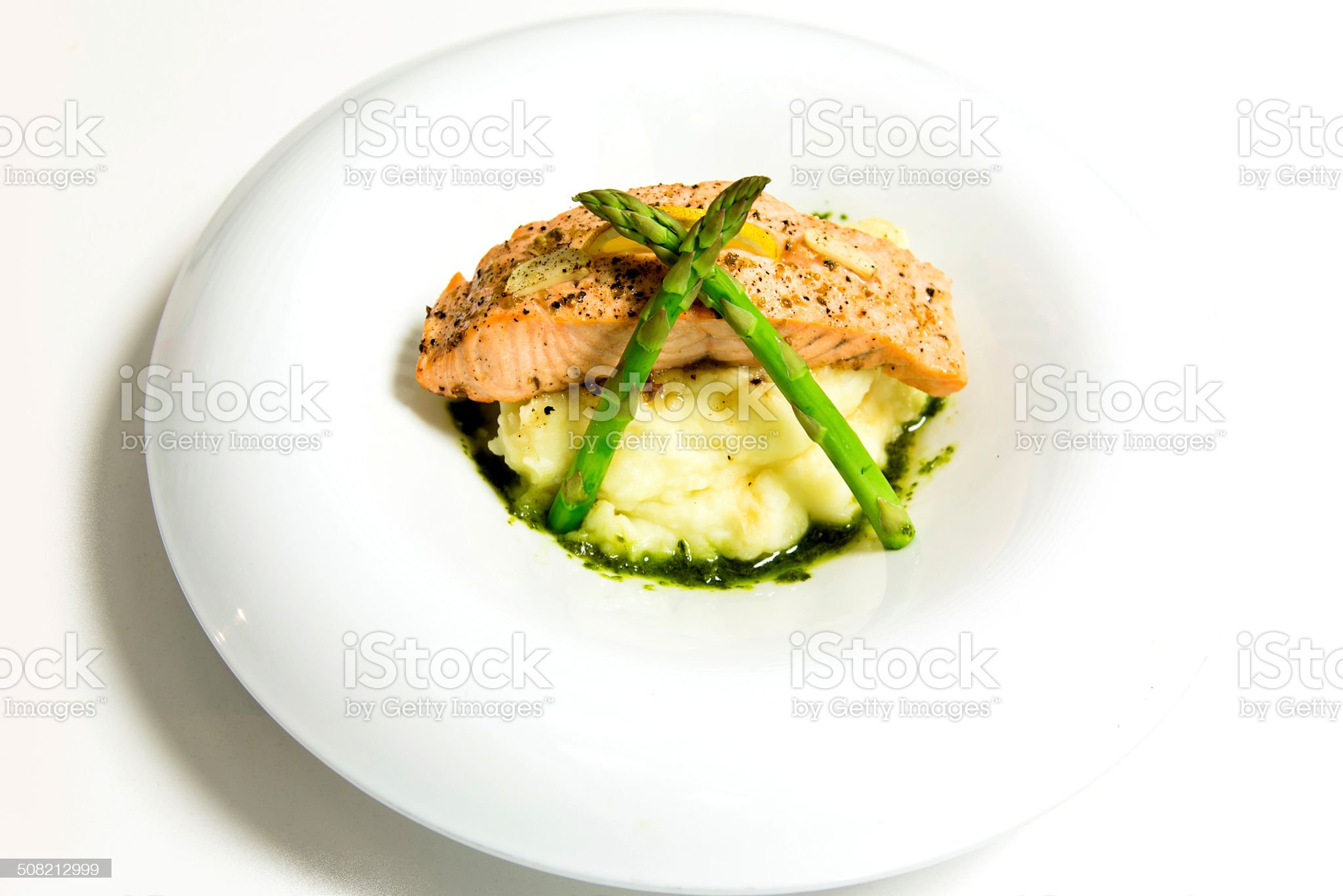 Salad mix with pears and grilled asparagus royalty-free stock photo