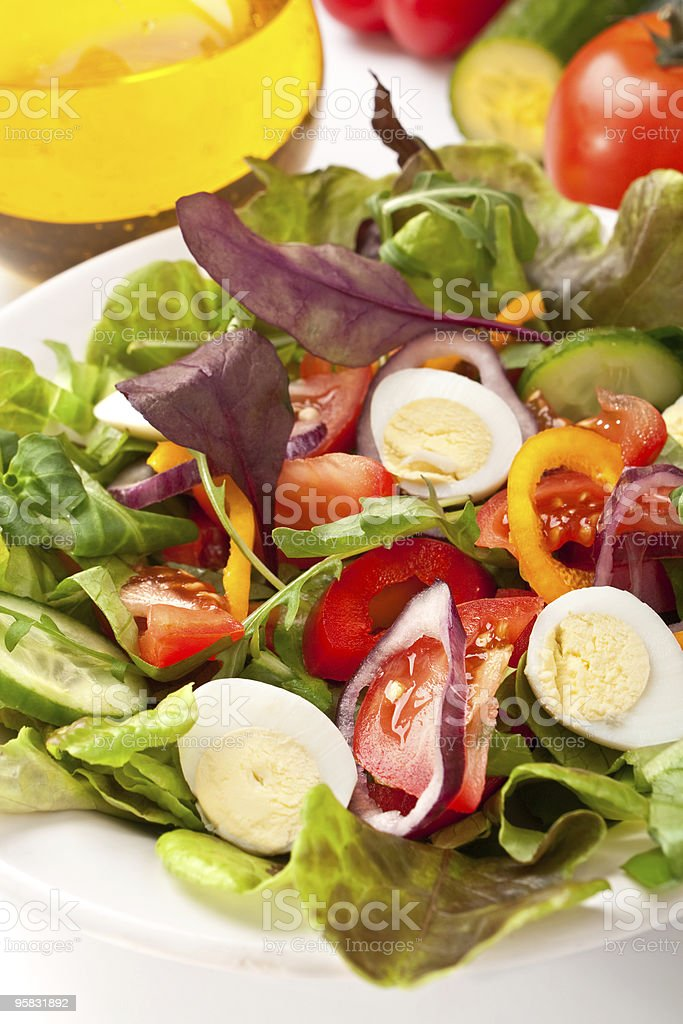 salad mix with quail eggs royalty-free stock photo