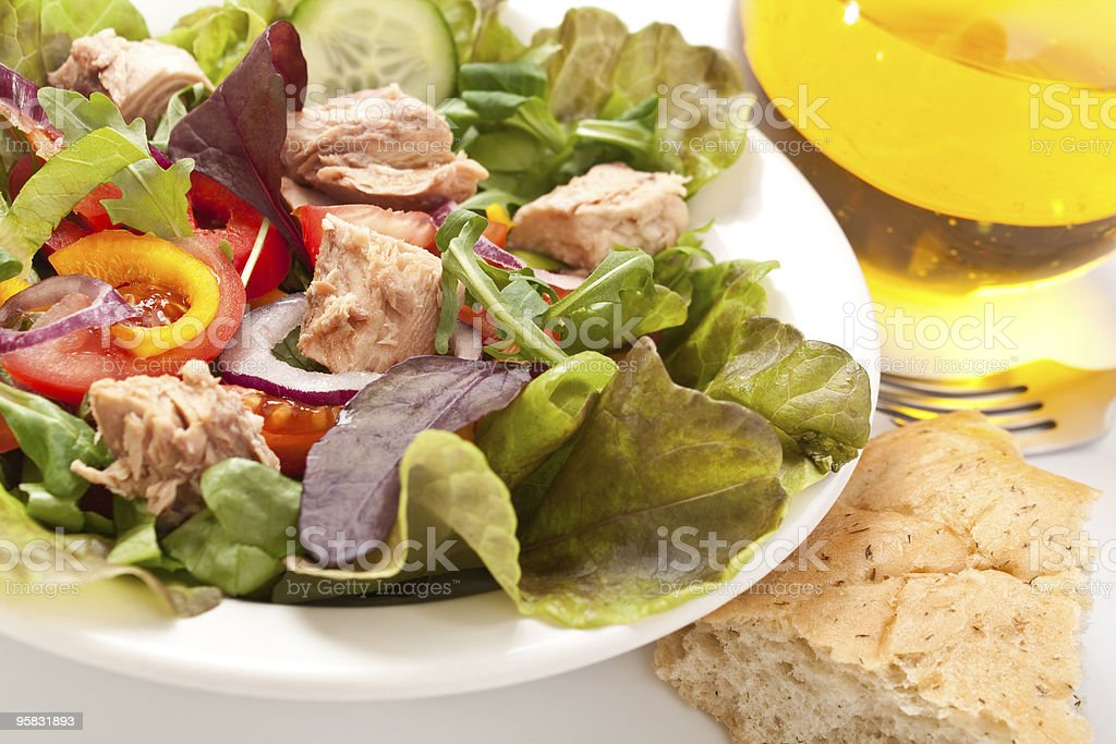 salad mix with tuna on a white bowl royalty-free stock photo
