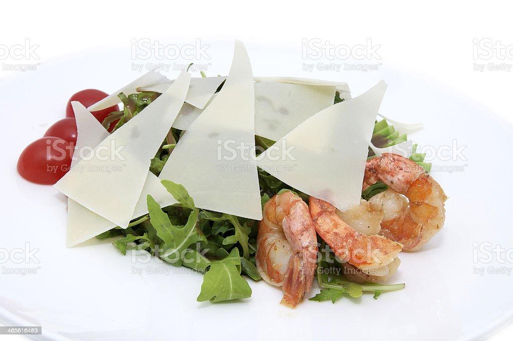 salad of arugula and tomato shrimp royalty-free stock photo