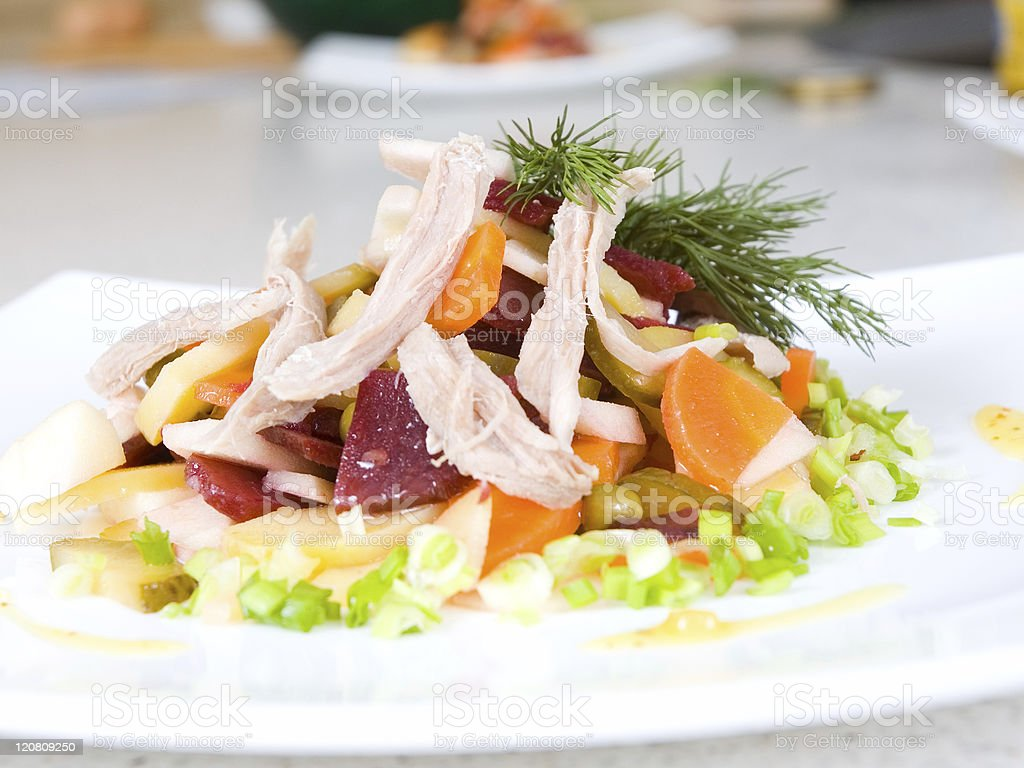 salad of beetroot, carrot, potato, green leek and meat royalty-free stock photo