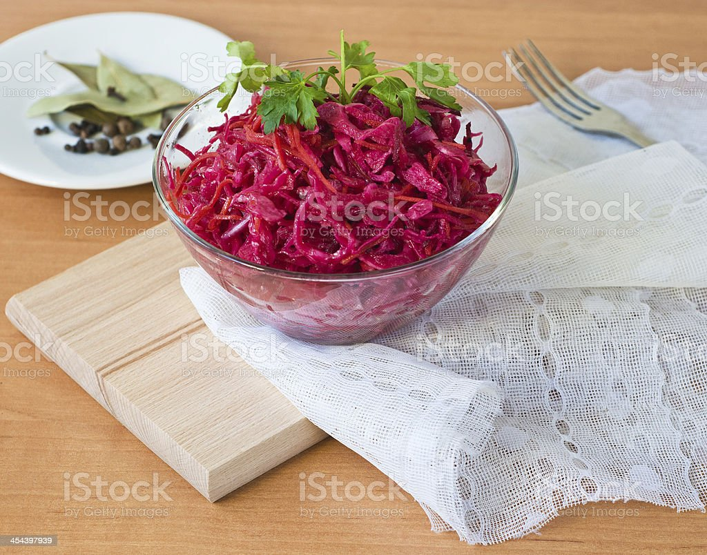 salad of cabbage, beets and carrots royalty-free stock photo