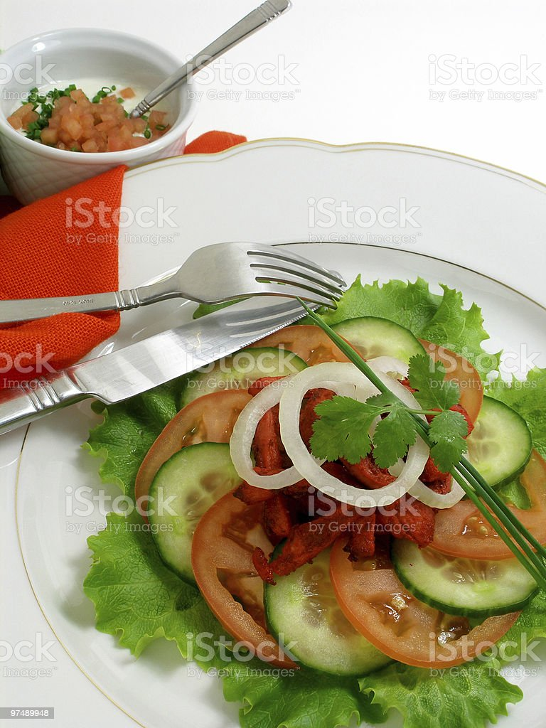 Salad of chicken with tandoori spices 4 stock photo