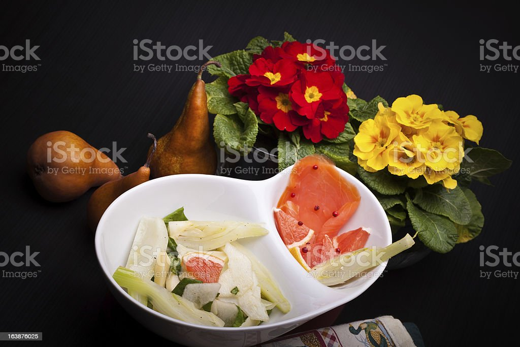 Salad Of Fennel, Pears And White Cheese royalty-free stock photo