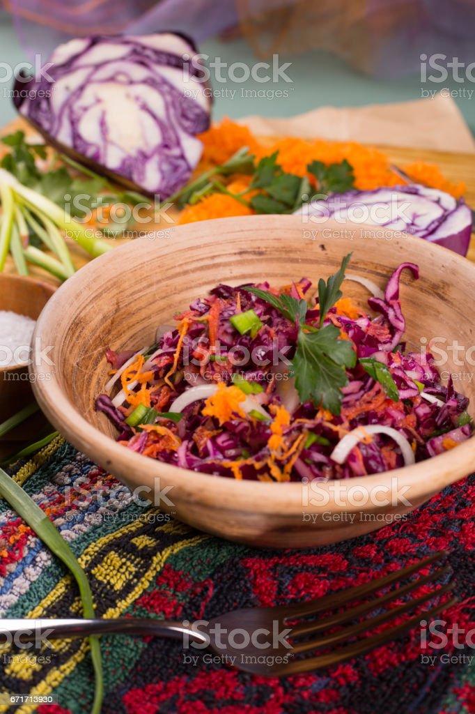 Salad of fresh blue cabbage stock photo
