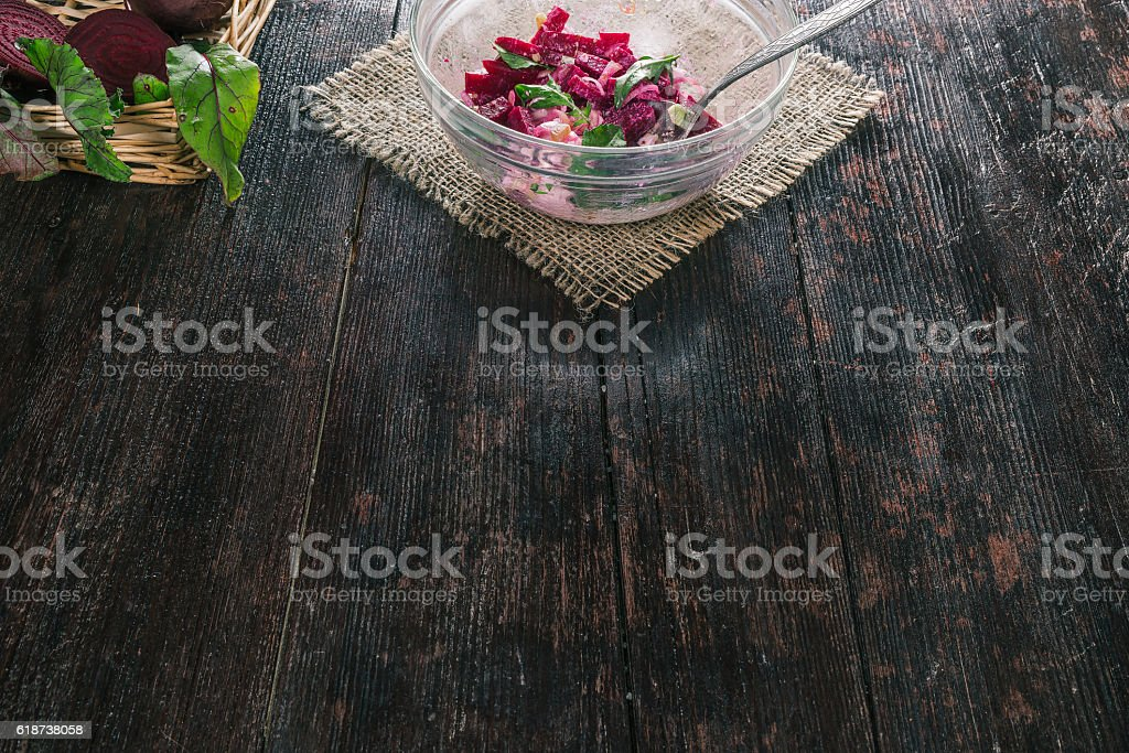 Salad of pickled beetroot stock photo