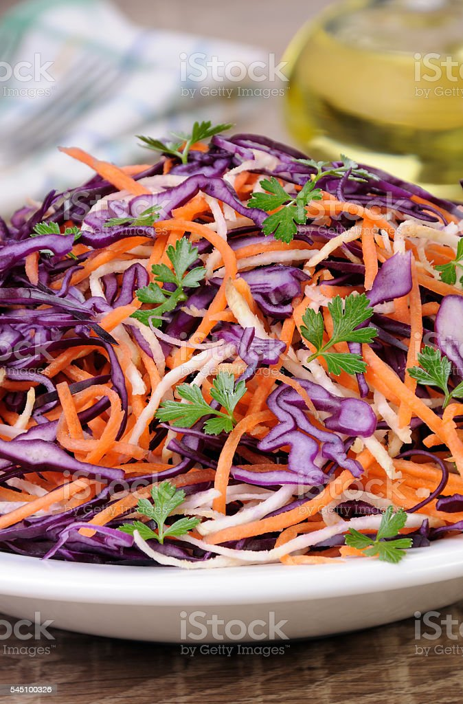 Salad of red cabbage stock photo