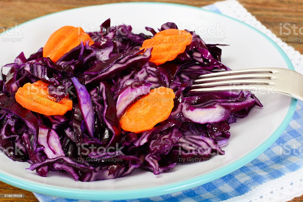 Salad of Red Cabbage with Vegetable Oil. Diet Food stock photo