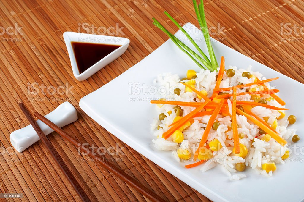 Salad of rice with sauce and sticks royalty-free stock photo