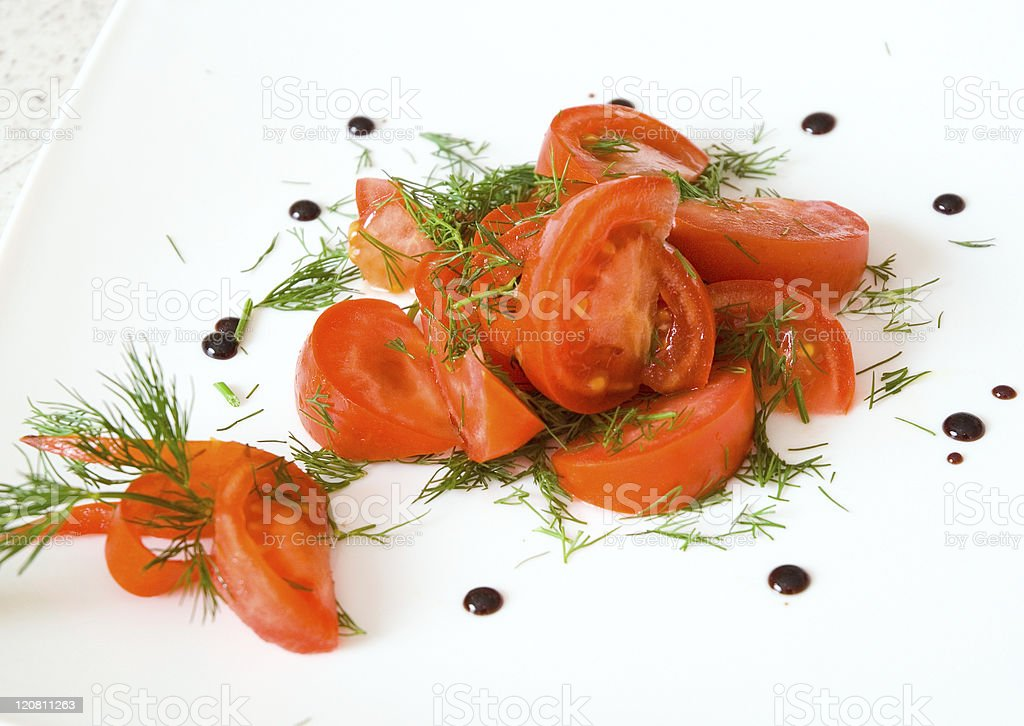salad of tomatoes and dill stock photo