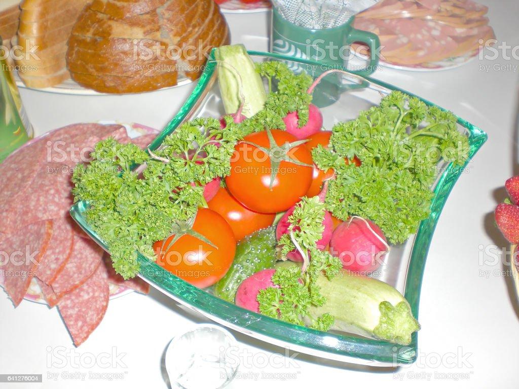 Salad on a celebratory table stock photo