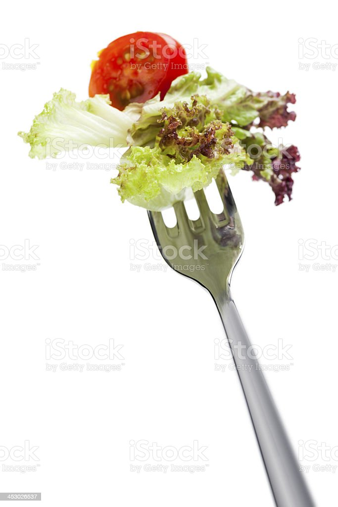 salad on fork stock photo