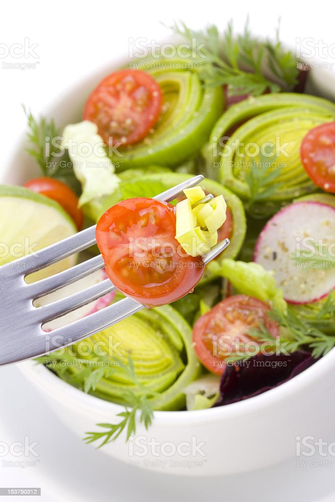 Salad on the fork royalty-free stock photo