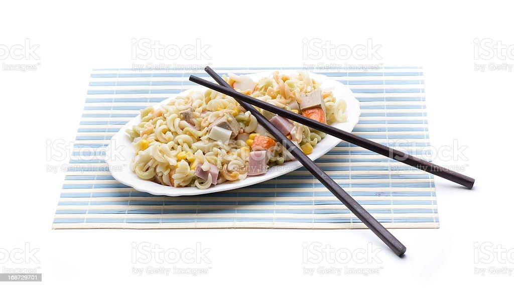 salad pasta chopsticks royalty-free stock photo