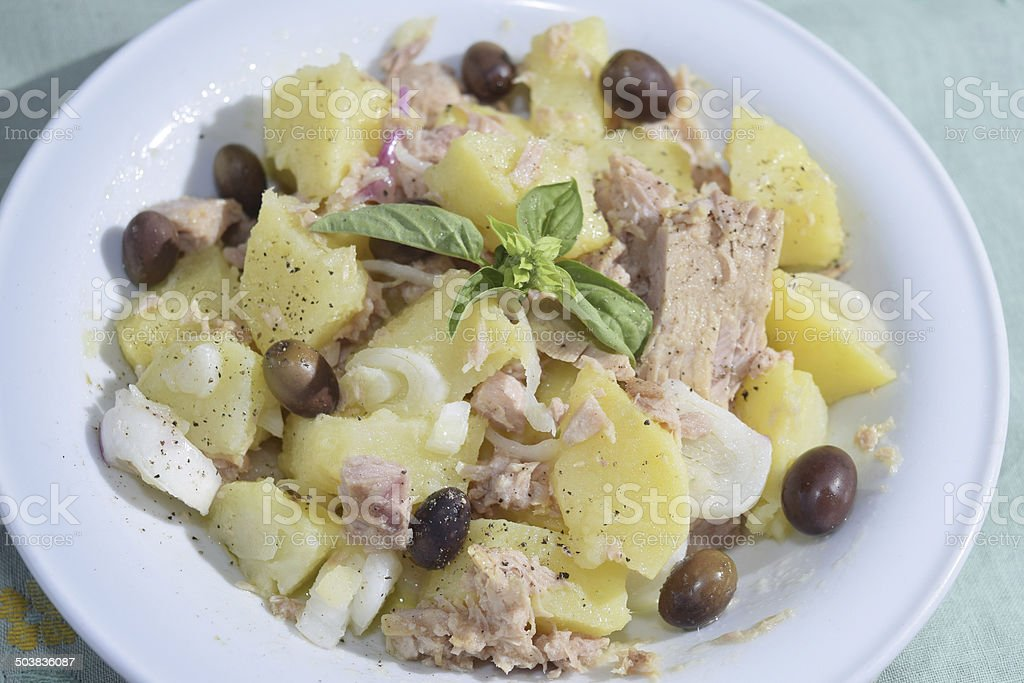 salad patatoes and tuna stock photo