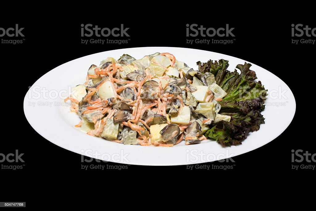 Salad photo with mushrooms stock photo