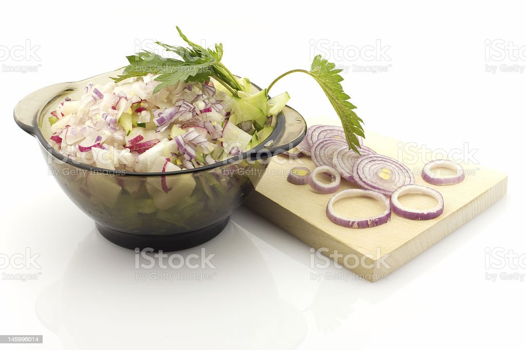 Salad preparation, isolated royalty-free stock photo