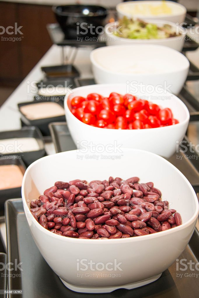 salad red  beans in bowl close up stock photo
