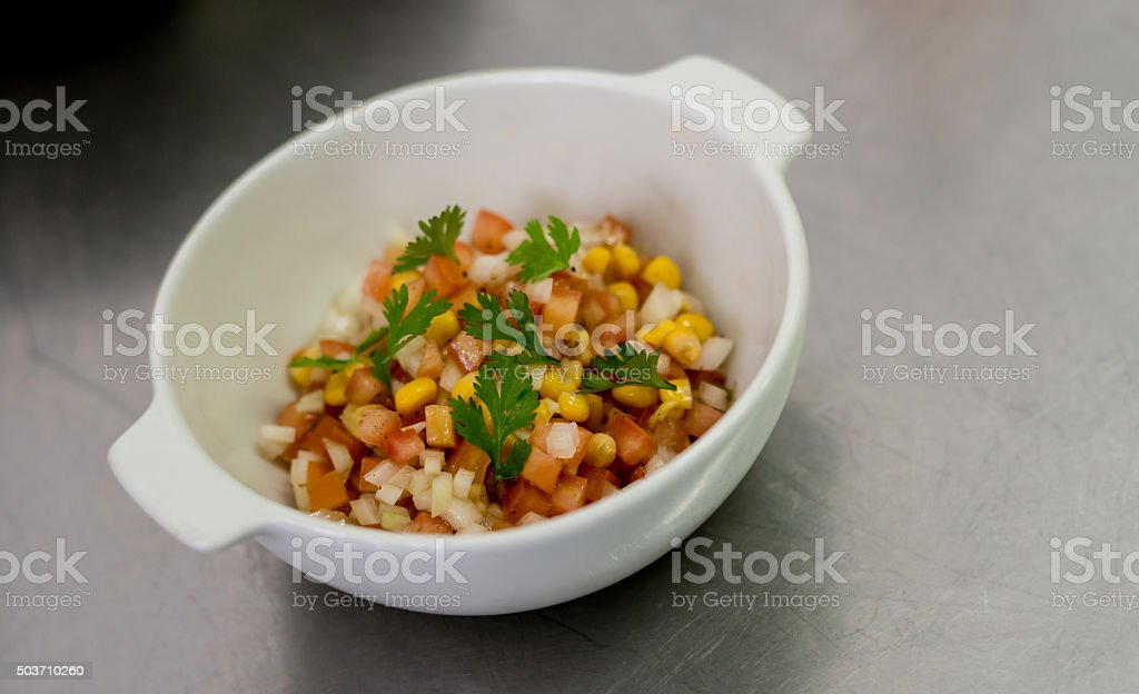 Salad served at a restaurant stock photo