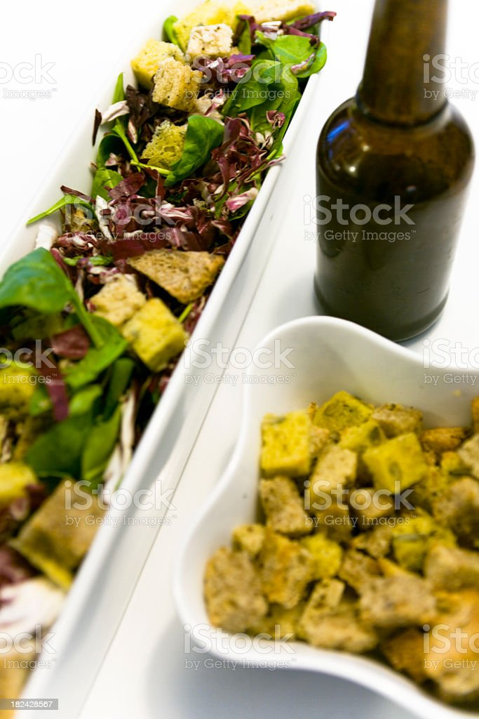 Salad served w. bread croutons. royalty-free stock photo