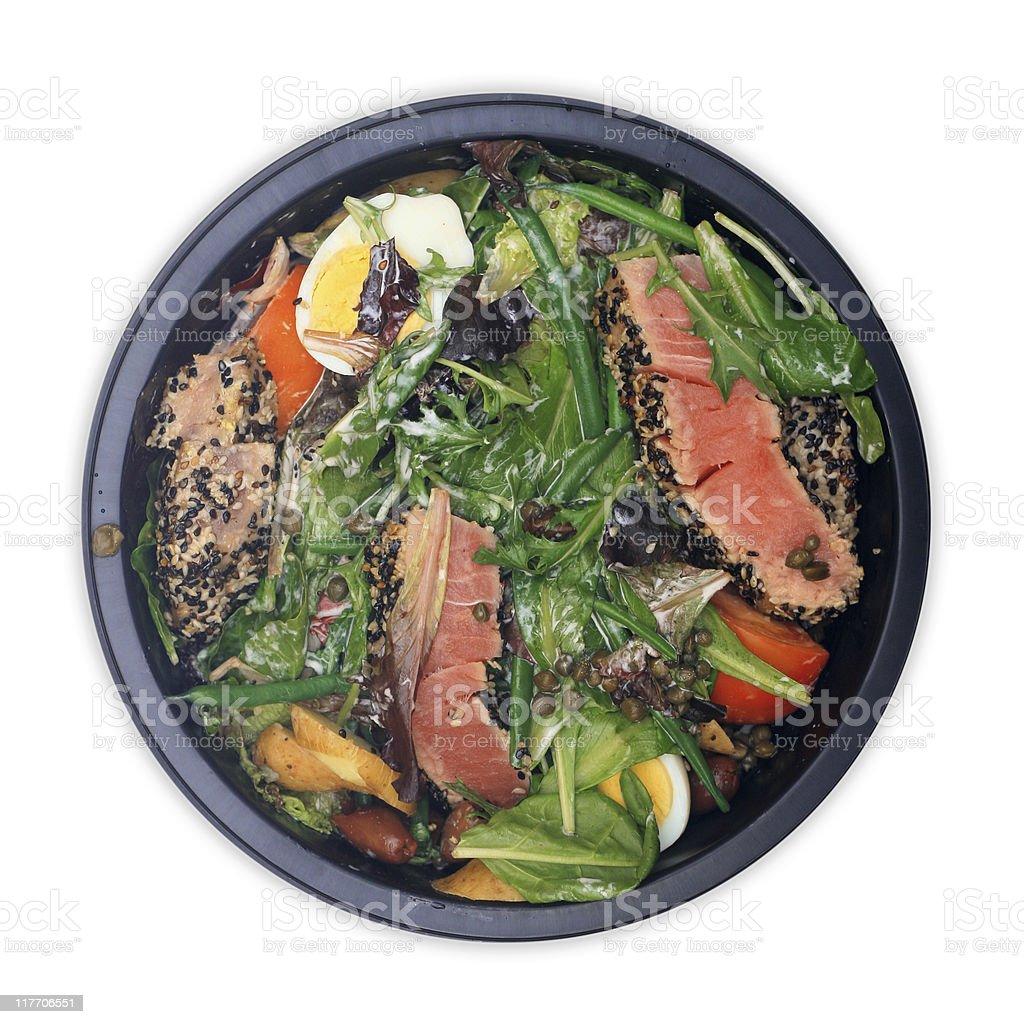 Salad: Sesame Tuna, Field Greens, Haricots Verts, Capers, Calamata Olives royalty-free stock photo