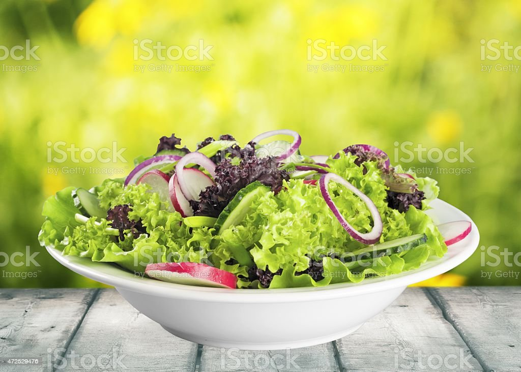 Salad. Set with different salads on white background stock photo