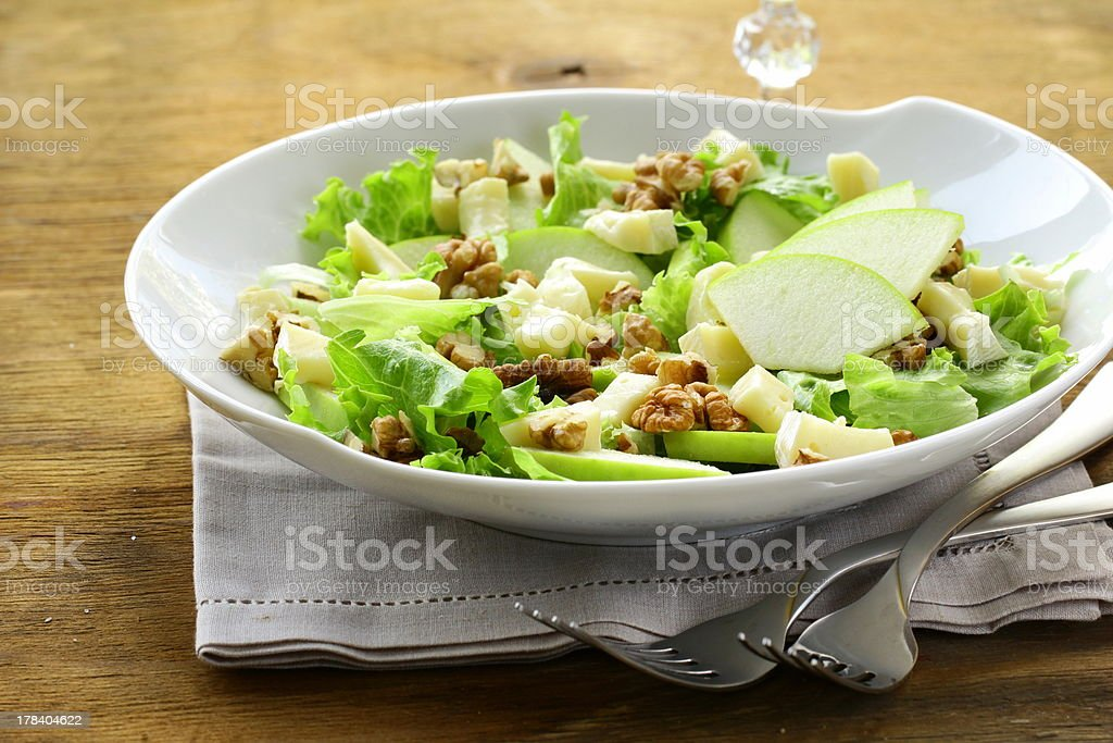 salad with apples, walnuts and cheese stock photo