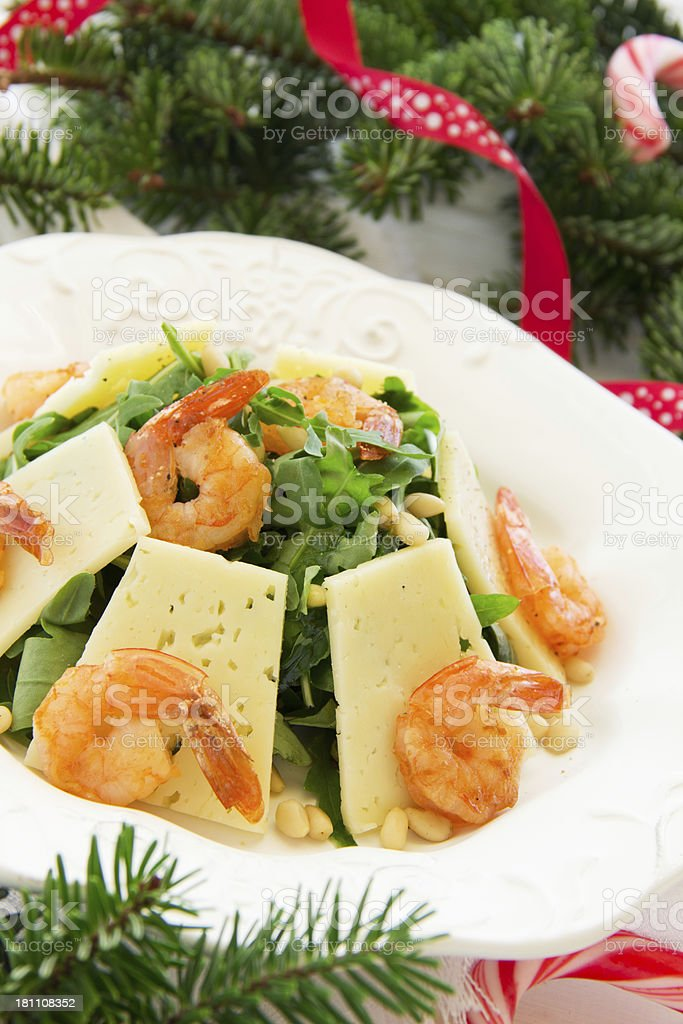Salad with arugula, shrimp and parmesan cheese. royalty-free stock photo