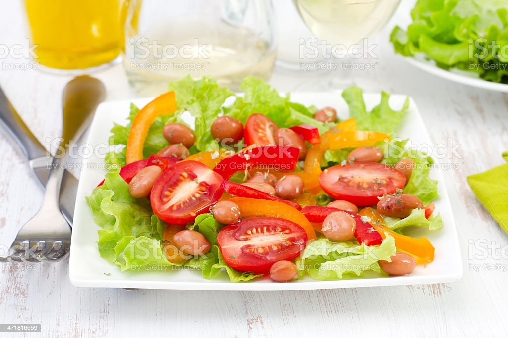 salad with beans, tomato and pepper royalty-free stock photo