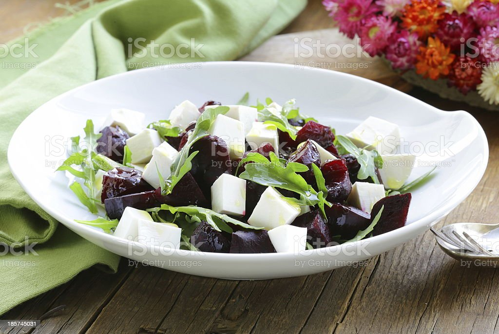salad with beetroot and soft feta cheese royalty-free stock photo
