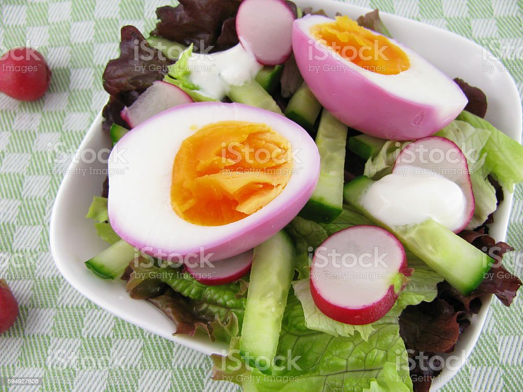 Salad with beetroot eggs stock photo