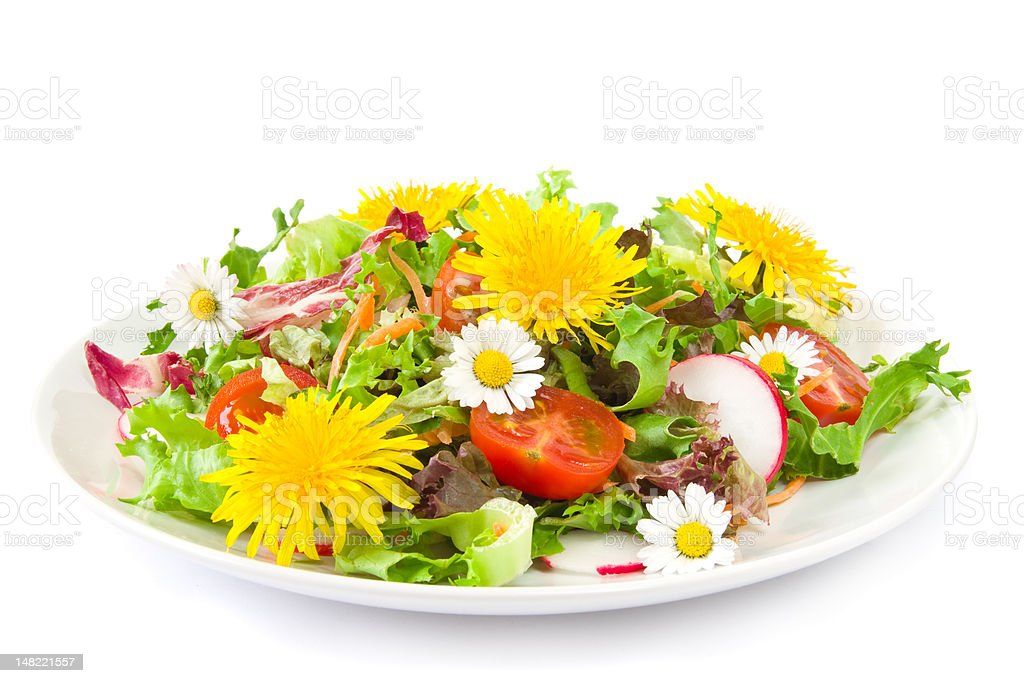 Salad with blossoms stock photo