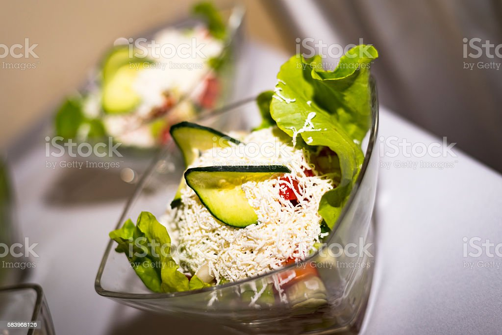 Salad with cabbage and cucumbers stock photo