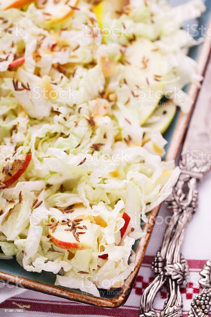 Salad with cabbage with Apple stock photo