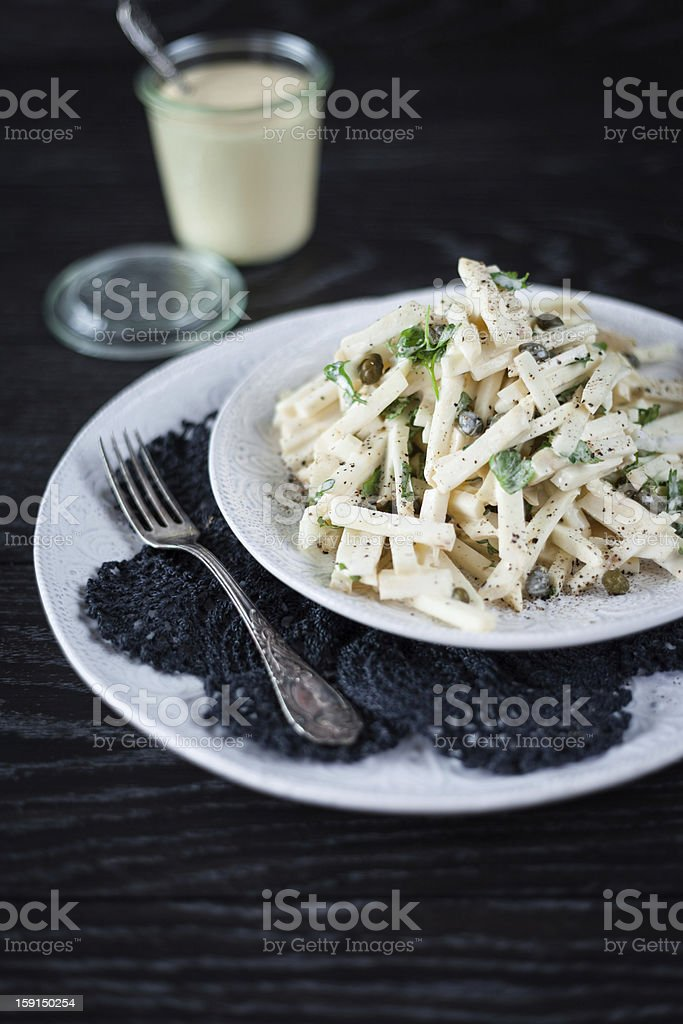 Salad with Celery Root, Capers, and R?moulade Sauce royalty-free stock photo