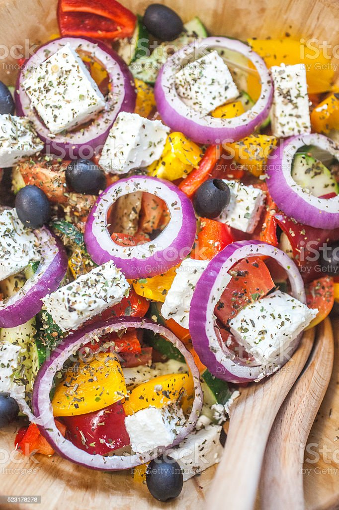 Salad with cheese stock photo