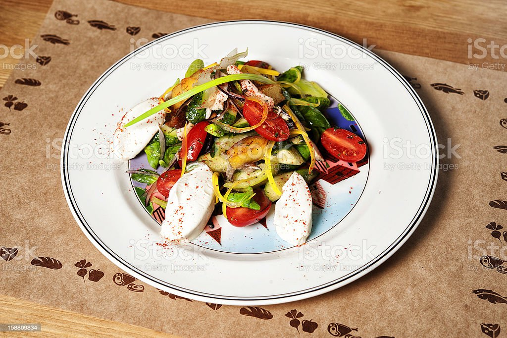 Salad with chicken and vegetables royalty-free stock photo