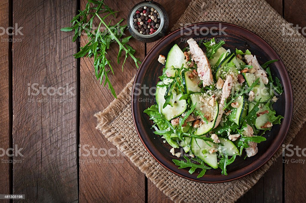 Salad with chicken and zucchini stock photo