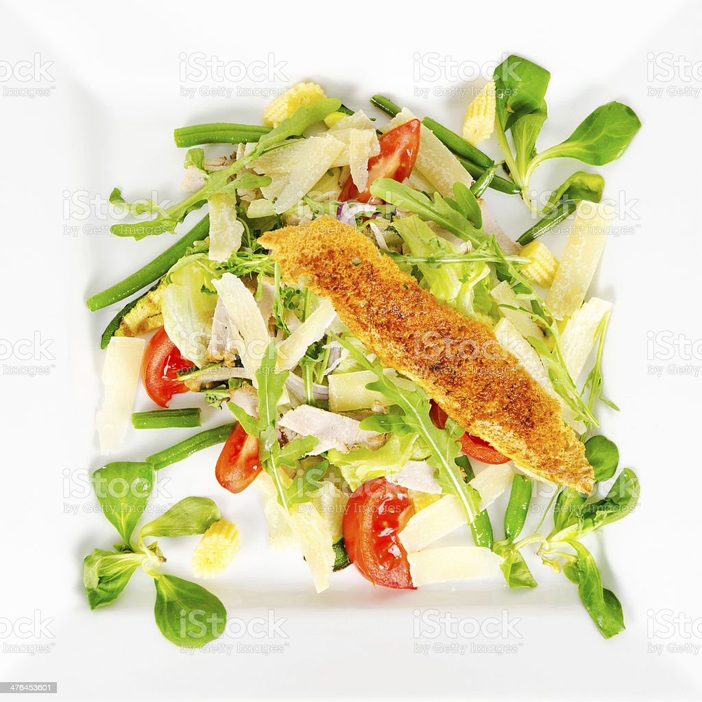 salad with chicken, vegetables, hard cheese and croutons royalty-free stock photo