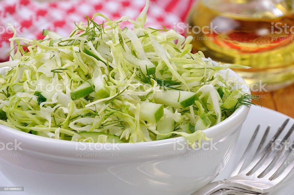 Salad with cucumber coleslaw stock photo
