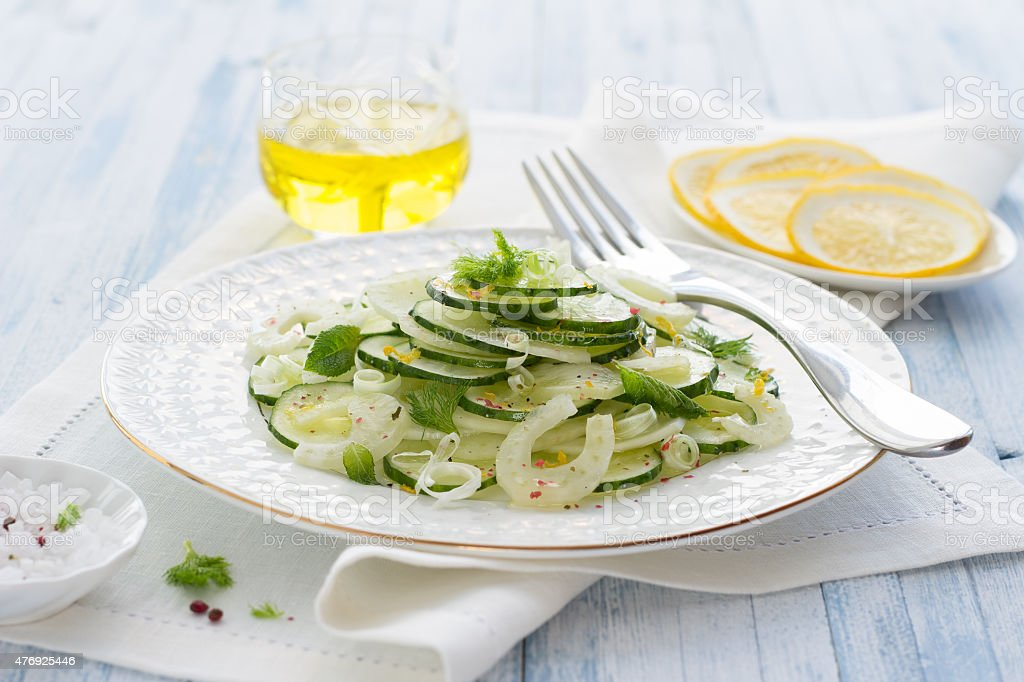 Salad with cucumber, fennel, green onions and mint stock photo