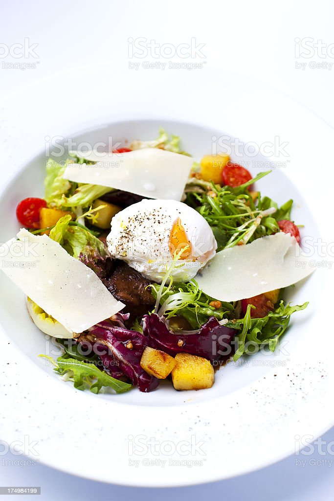 salad with eggs benedict royalty-free stock photo