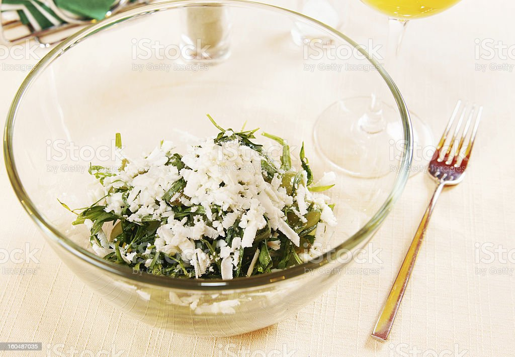 Salad with fresh tarragon and grapes royalty-free stock photo